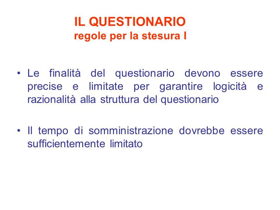 IL QUESTIONARIO regole per la stesura I