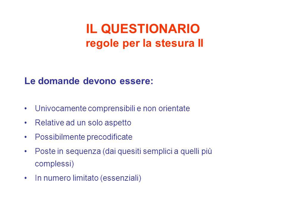 IL QUESTIONARIO regole per la stesura II