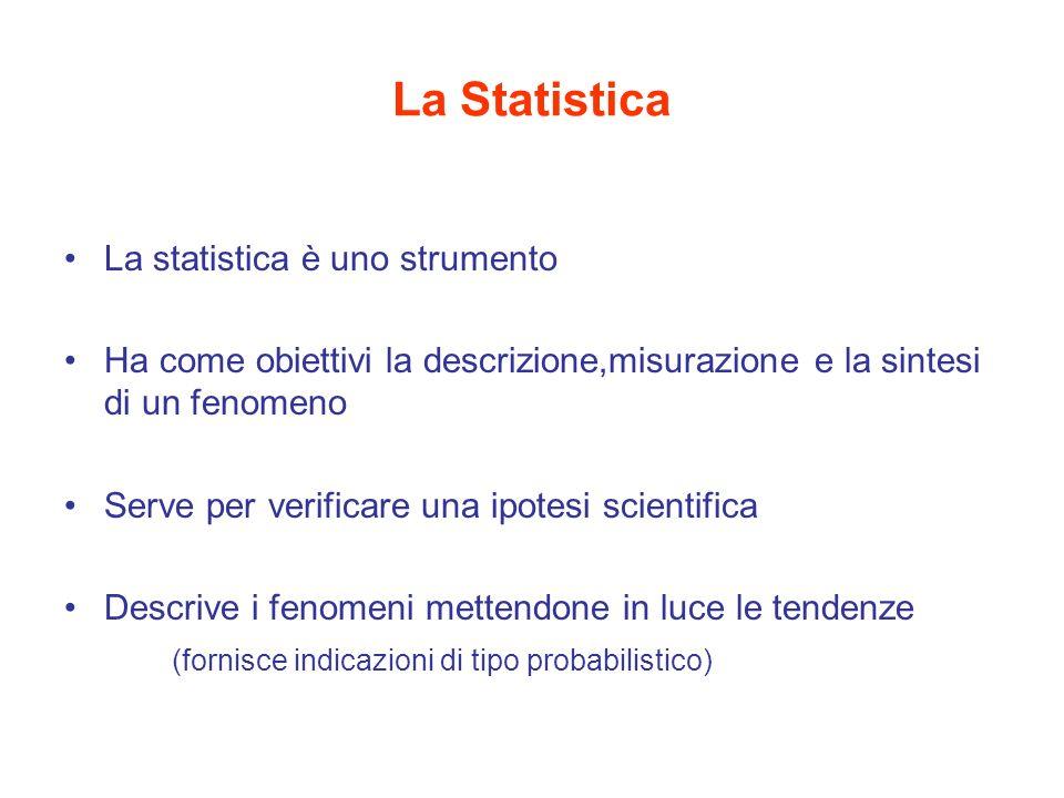 La Statistica La statistica è uno strumento