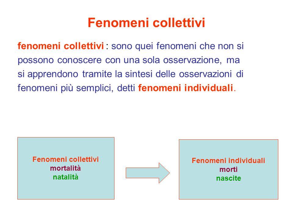 Fenomeni collettivi fenomeni collettivi : sono quei fenomeni che non si. possono conoscere con una sola osservazione, ma.