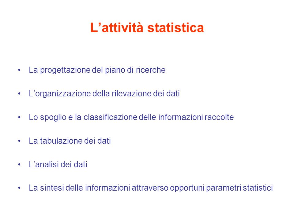 L'attività statistica