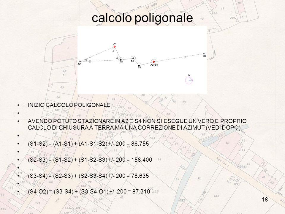 calcolo poligonale INIZIO CALCOLO POLIGONALE