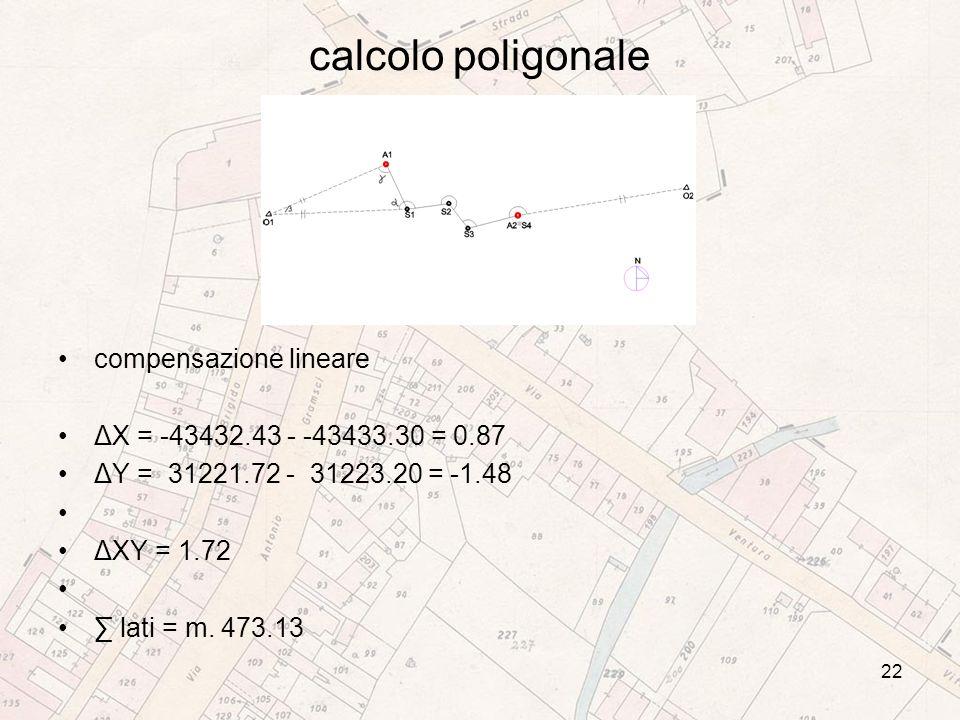 calcolo poligonale compensazione lineare