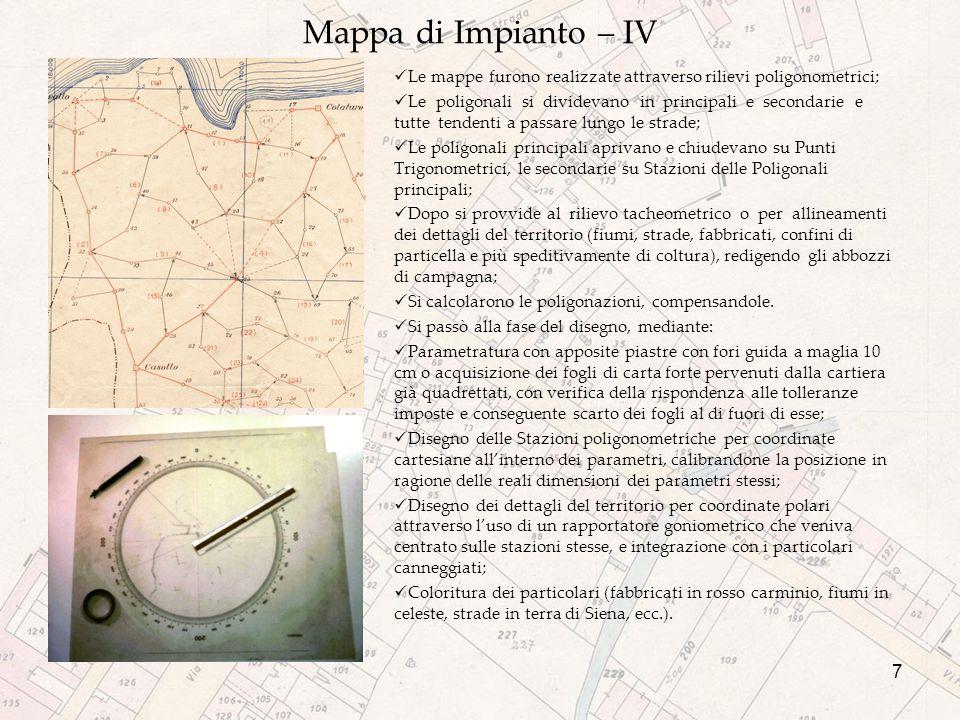Mappa di Impianto – IV Le mappe furono realizzate attraverso rilievi poligonometrici;