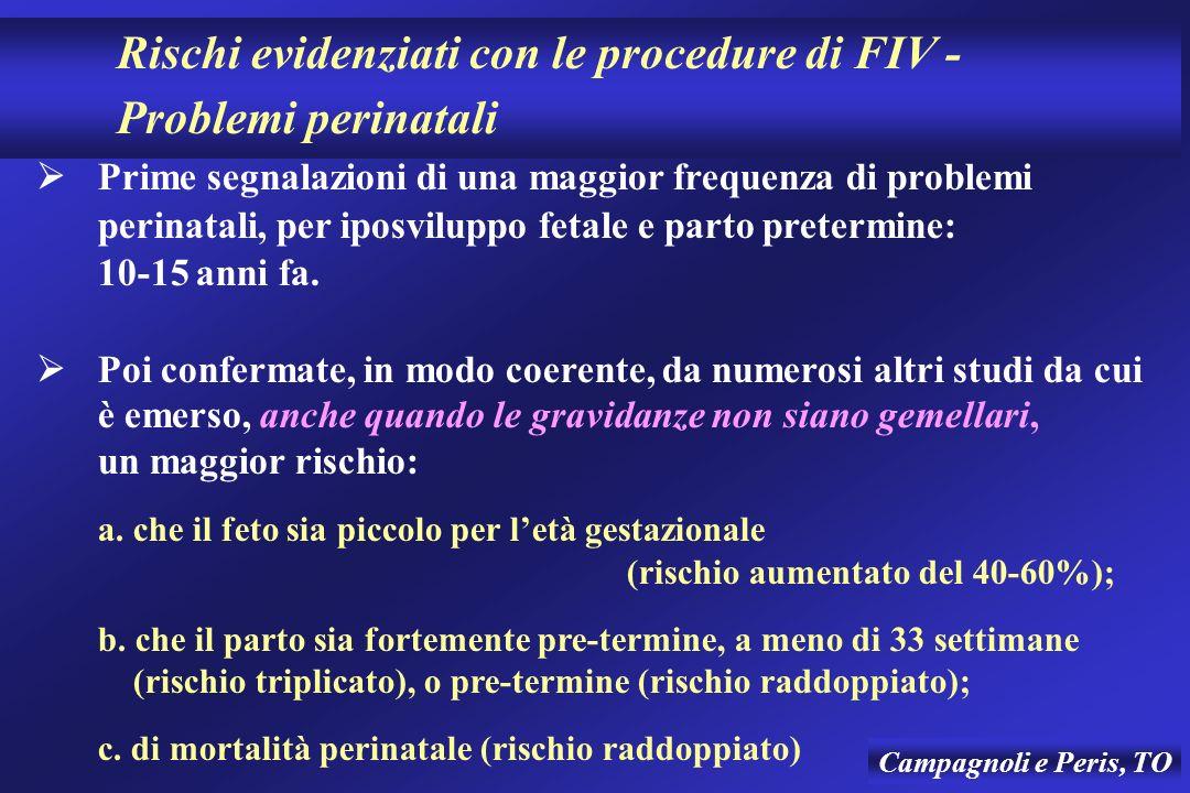 Rischi evidenziati con le procedure di FIV - Problemi perinatali