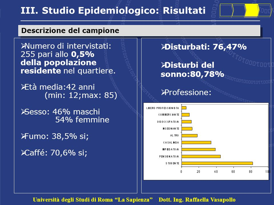 III. Studio Epidemiologico: Risultati