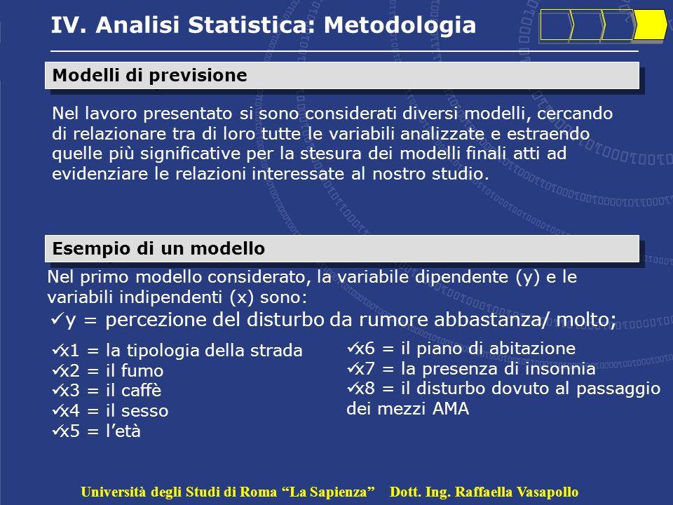 IV. Analisi Statistica: Metodologia