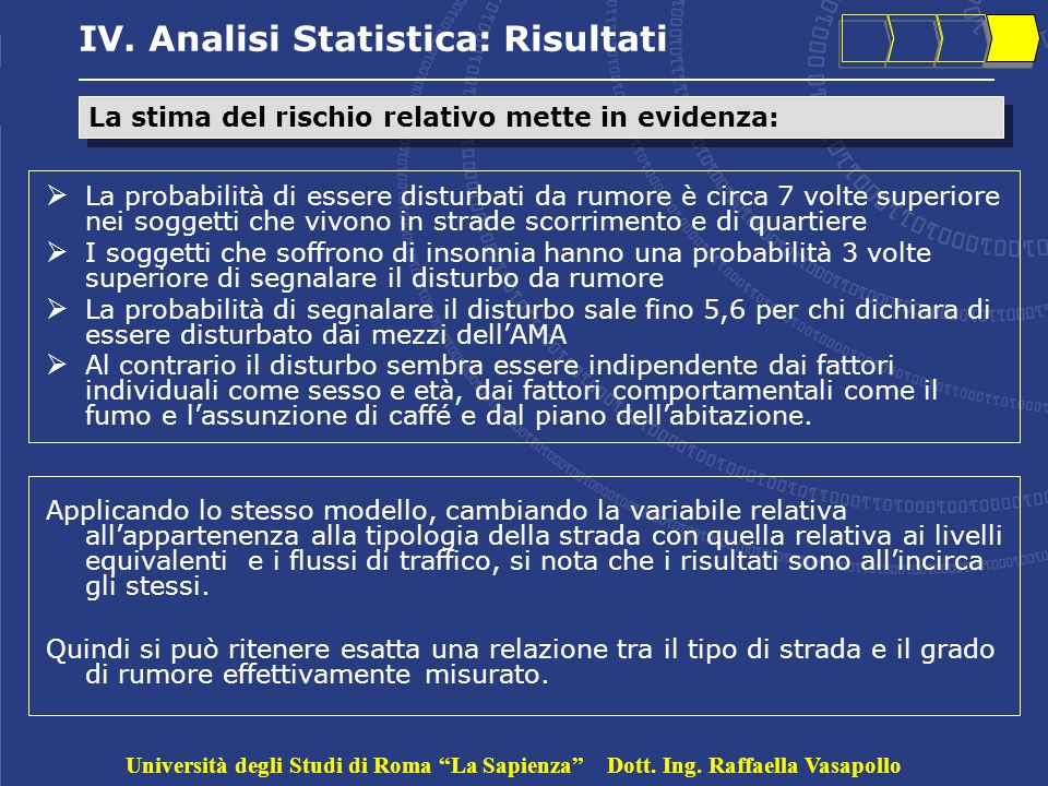 IV. Analisi Statistica: Risultati