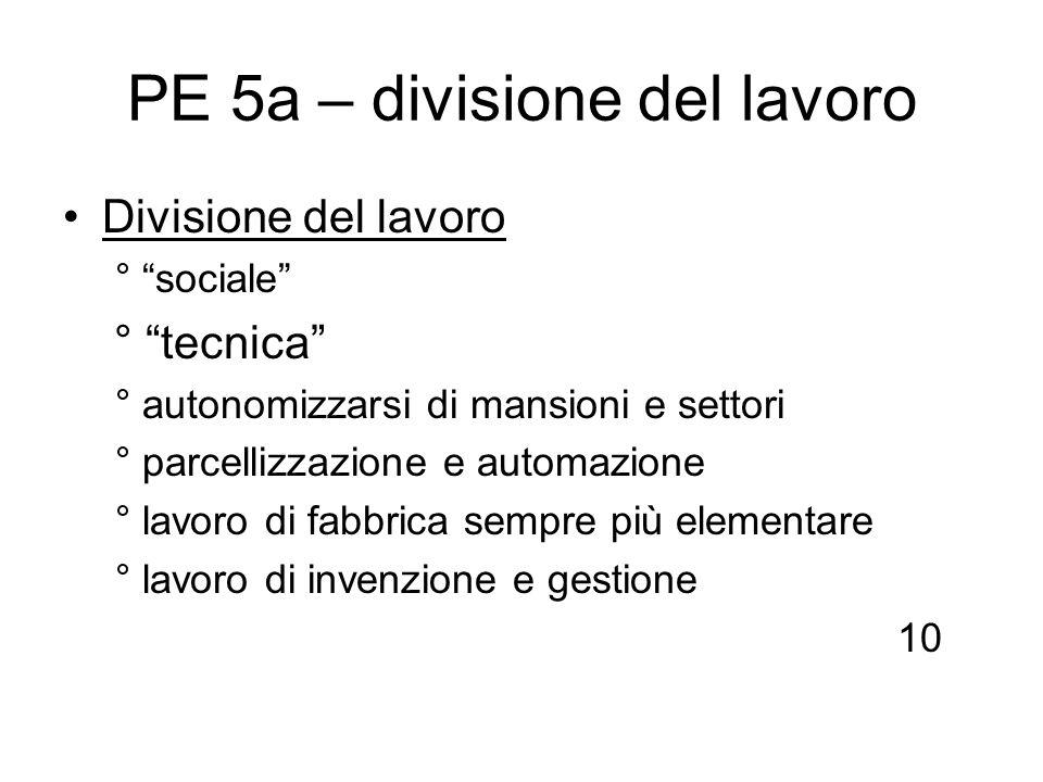 PE 5a – divisione del lavoro