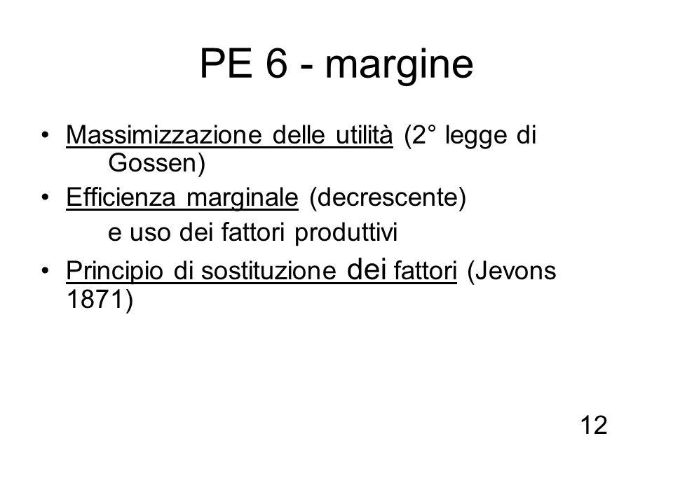 PE 6 - margine Massimizzazione delle utilità (2° legge di Gossen)
