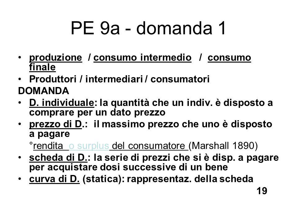 PE 9a - domanda 1 produzione / consumo intermedio / consumo finale