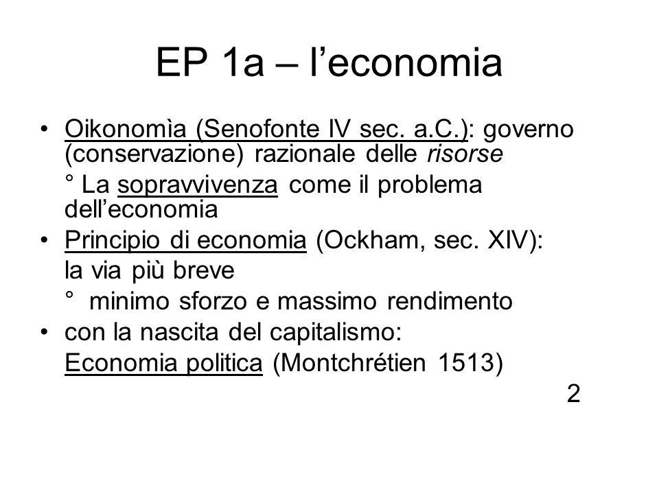 EP 1a – l'economia Oikonomìa (Senofonte IV sec. a.C.): governo (conservazione) razionale delle risorse.