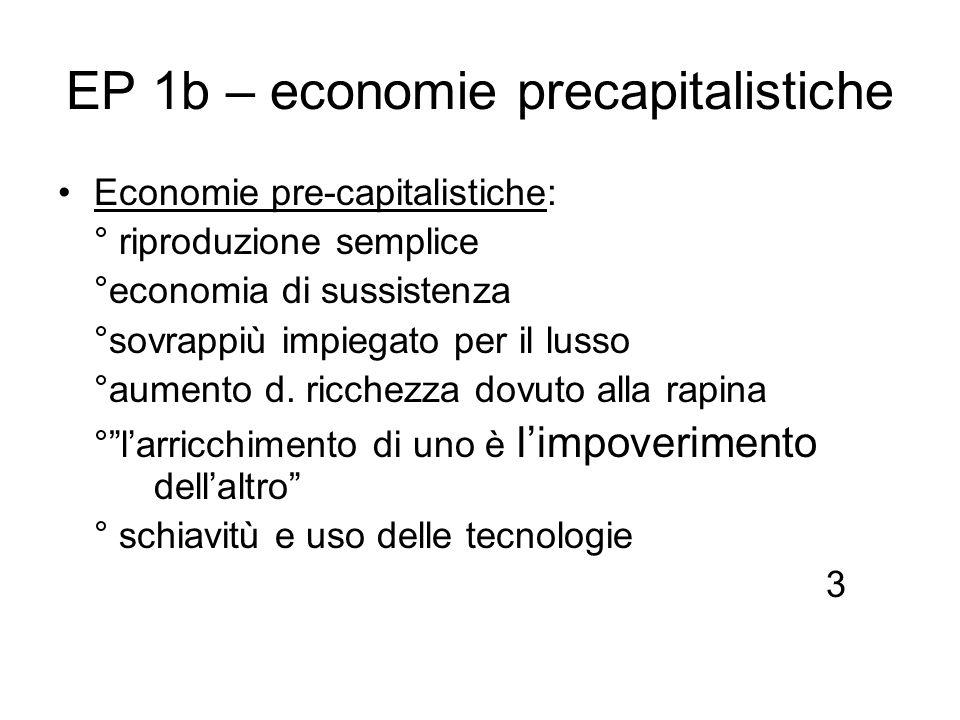 EP 1b – economie precapitalistiche