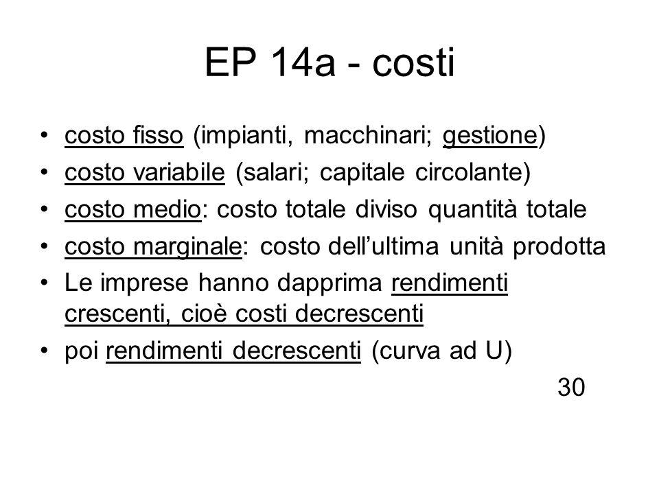 EP 14a - costi costo fisso (impianti, macchinari; gestione)