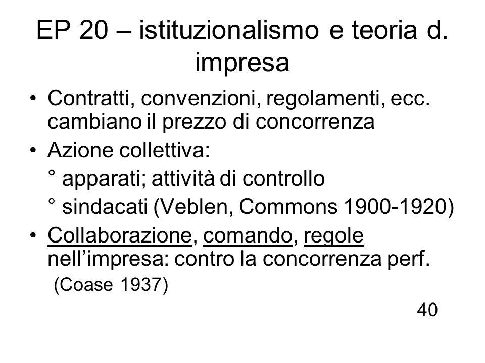 EP 20 – istituzionalismo e teoria d. impresa