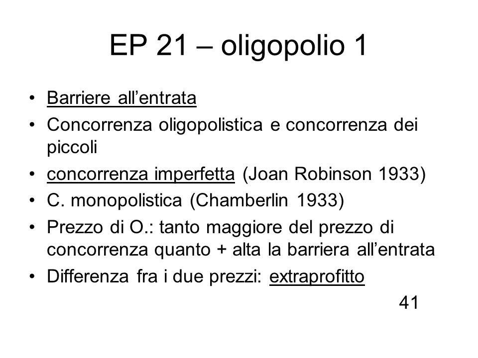 EP 21 – oligopolio 1 Barriere all'entrata