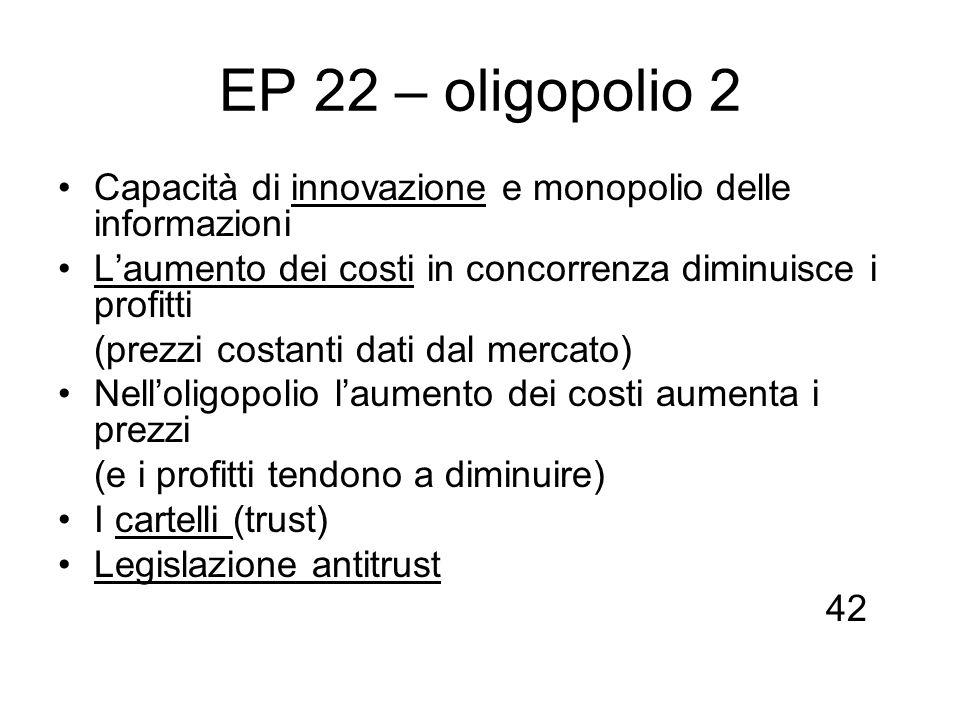 EP 22 – oligopolio 2 Capacità di innovazione e monopolio delle informazioni. L'aumento dei costi in concorrenza diminuisce i profitti.