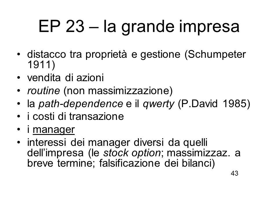 EP 23 – la grande impresa distacco tra proprietà e gestione (Schumpeter 1911) vendita di azioni. routine (non massimizzazione)