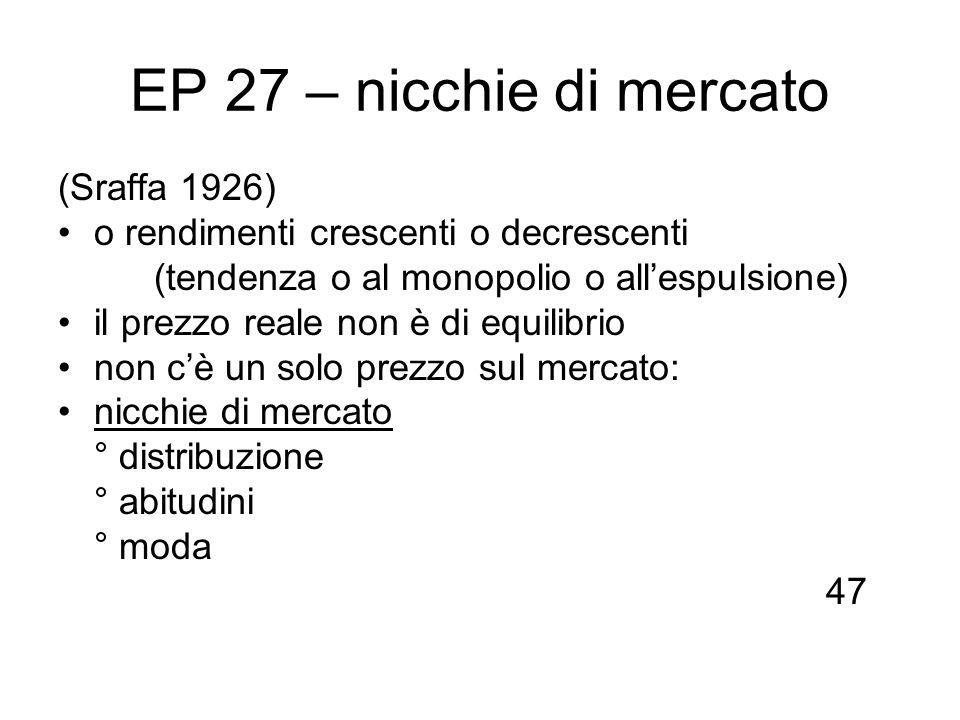 EP 27 – nicchie di mercato (Sraffa 1926)
