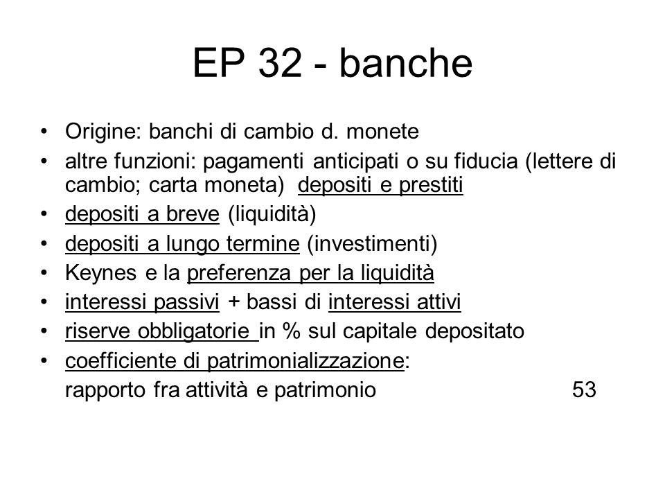 EP 32 - banche Origine: banchi di cambio d. monete