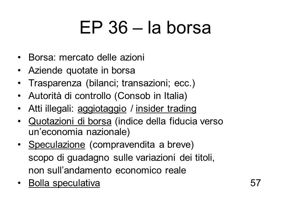 EP 36 – la borsa Borsa: mercato delle azioni Aziende quotate in borsa