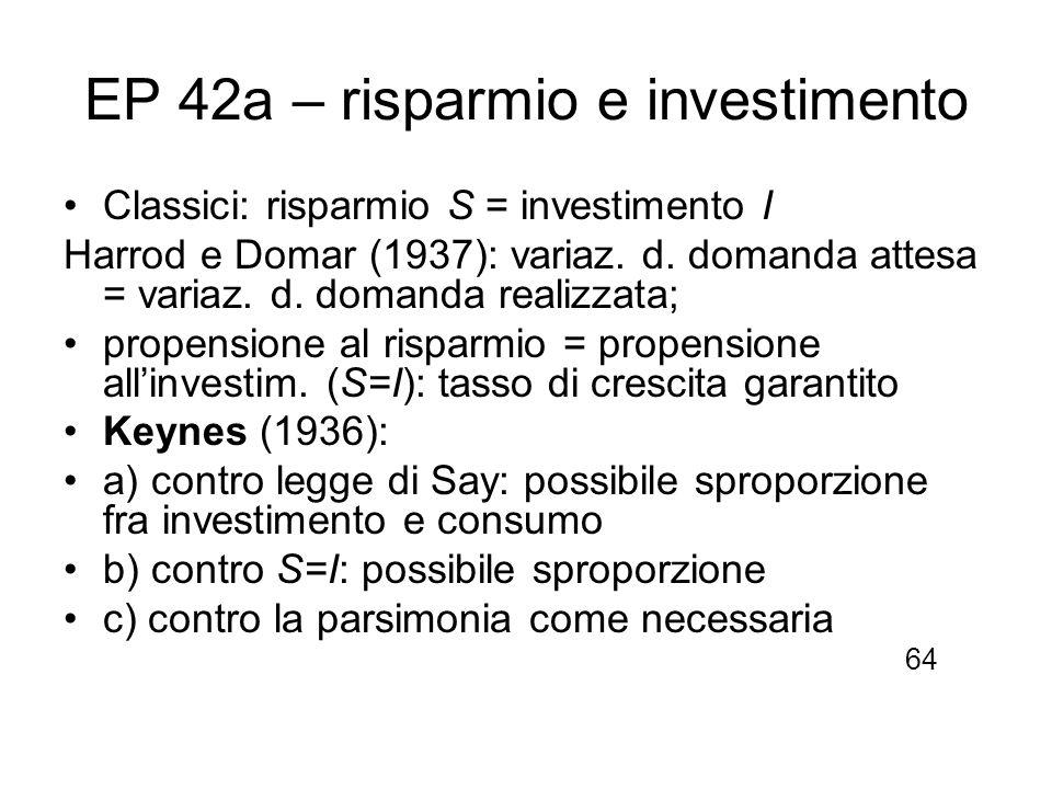 EP 42a – risparmio e investimento