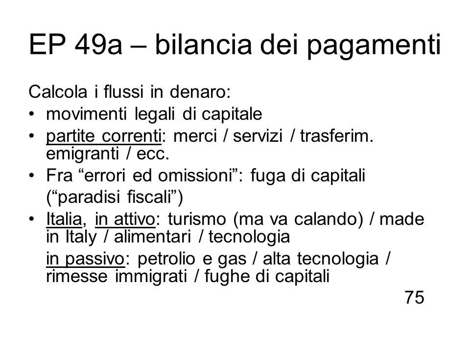 EP 49a – bilancia dei pagamenti
