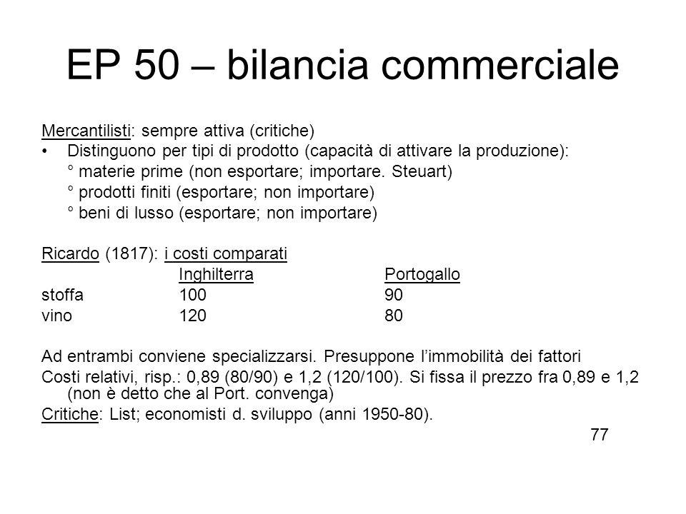EP 50 – bilancia commerciale