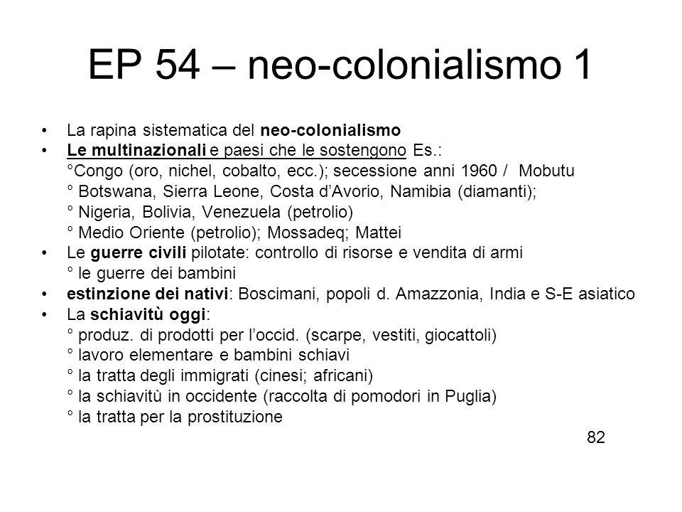 EP 54 – neo-colonialismo 1 La rapina sistematica del neo-colonialismo