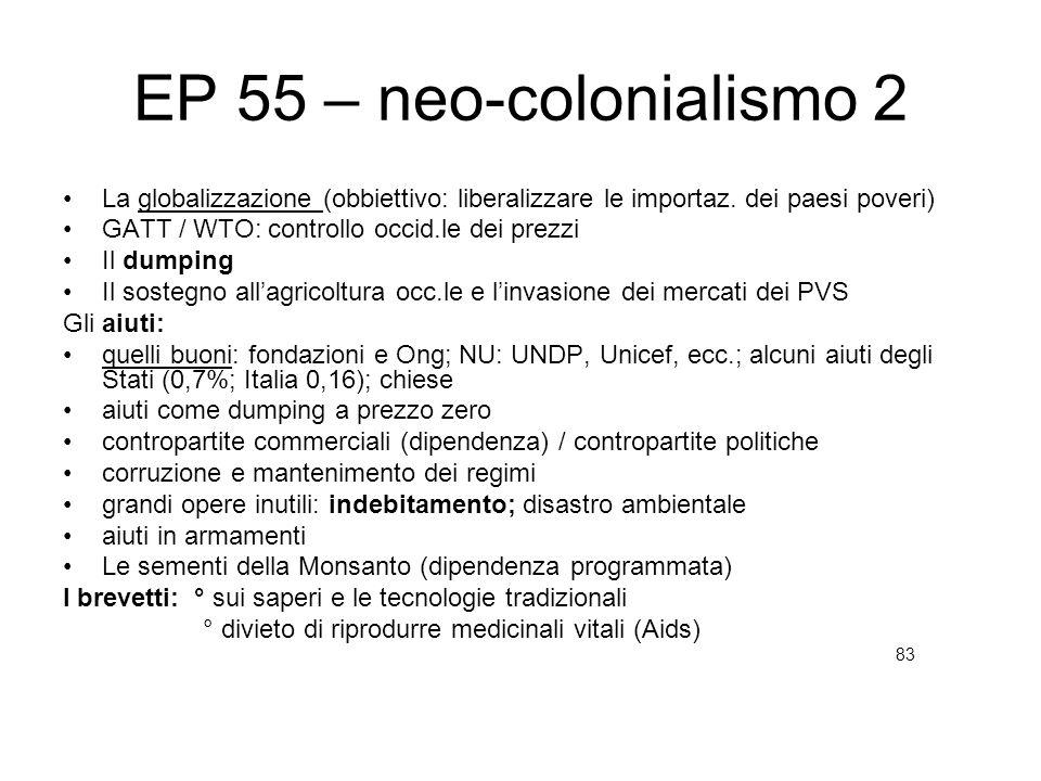 EP 55 – neo-colonialismo 2 La globalizzazione (obbiettivo: liberalizzare le importaz. dei paesi poveri)