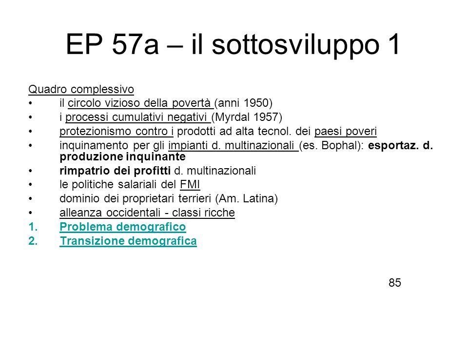 EP 57a – il sottosviluppo 1 Quadro complessivo