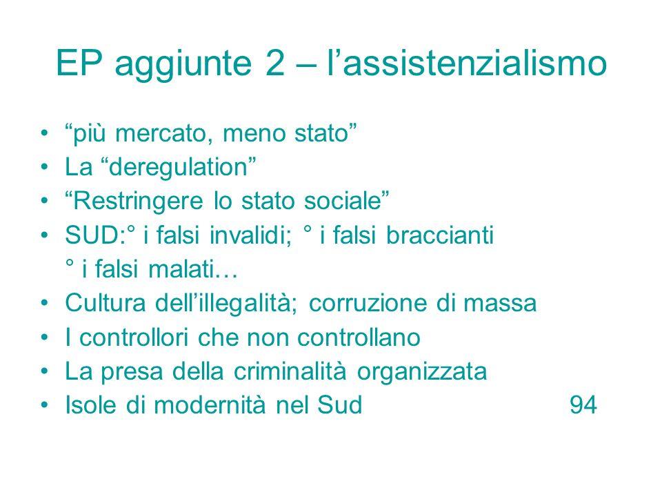 EP aggiunte 2 – l'assistenzialismo