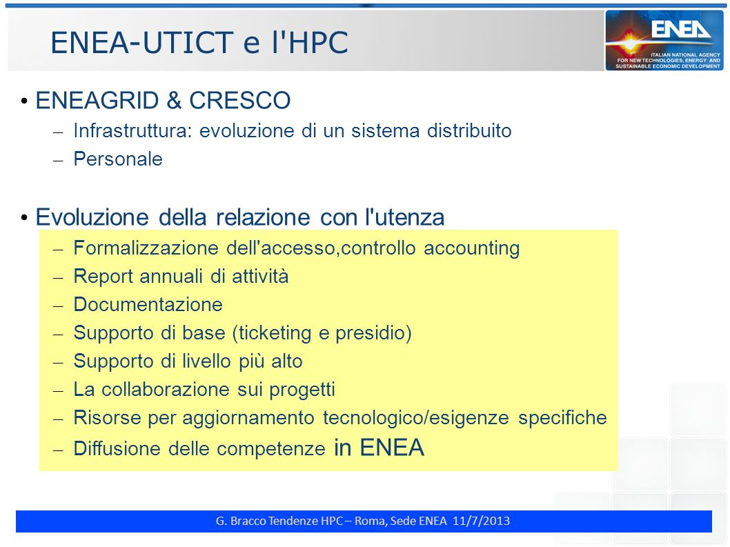 ENEA-UTICT e l HPC ENEAGRID & CRESCO