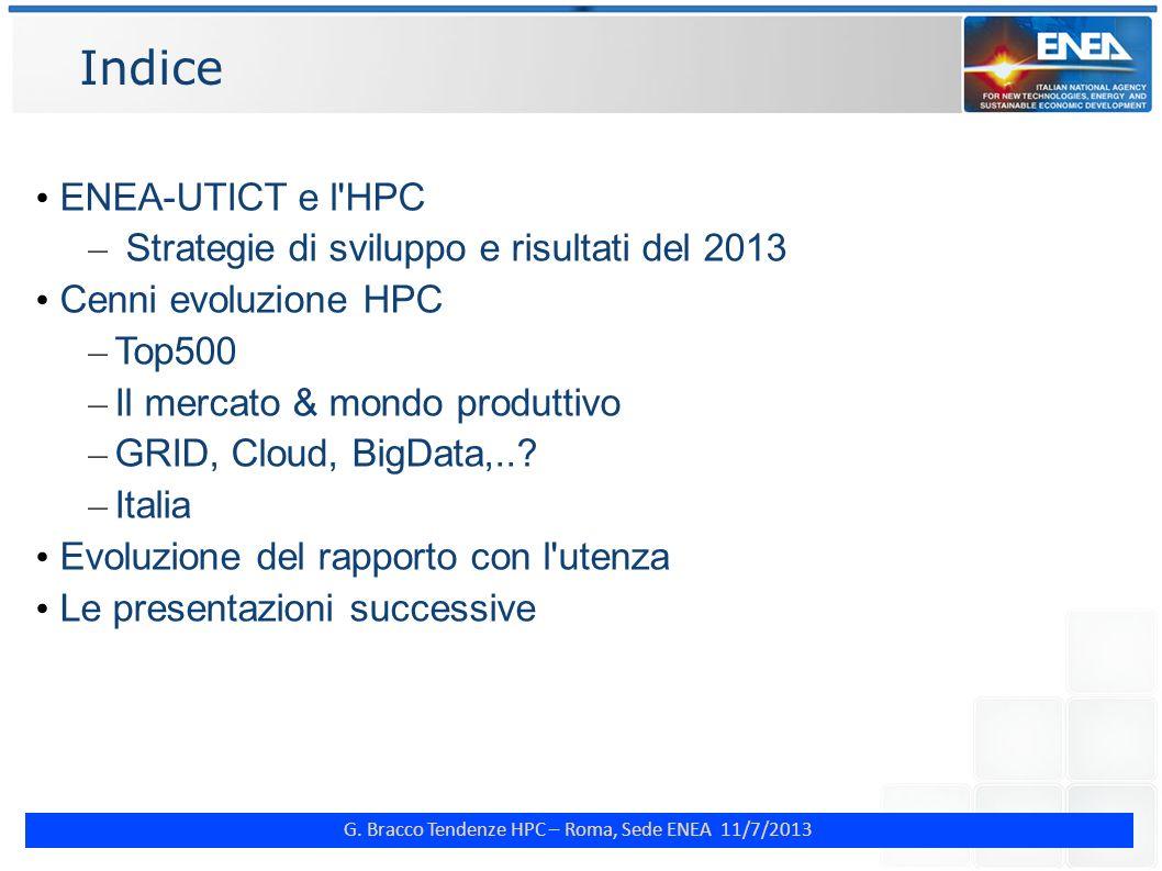 Indice ENEA-UTICT e l HPC Strategie di sviluppo e risultati del 2013