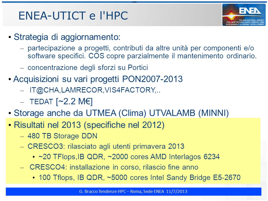 ENEA-UTICT e l HPC Strategia di aggiornamento: