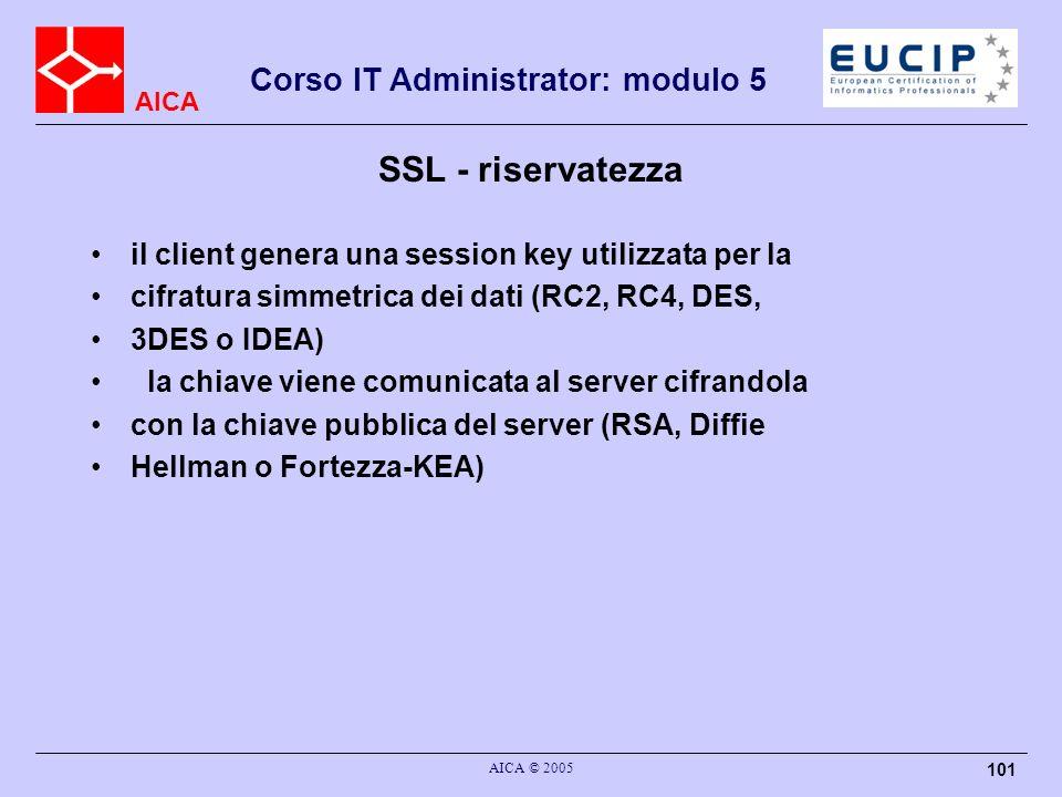 SSL - riservatezza il client genera una session key utilizzata per la
