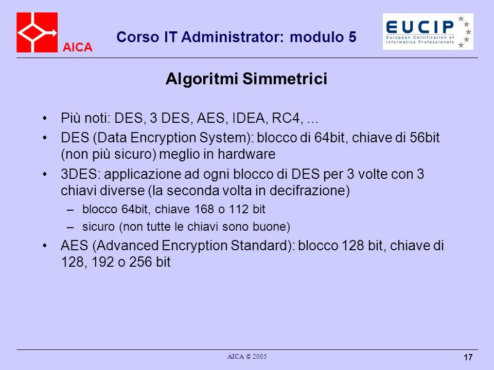 Algoritmi Simmetrici Più noti: DES, 3 DES, AES, IDEA, RC4, ...