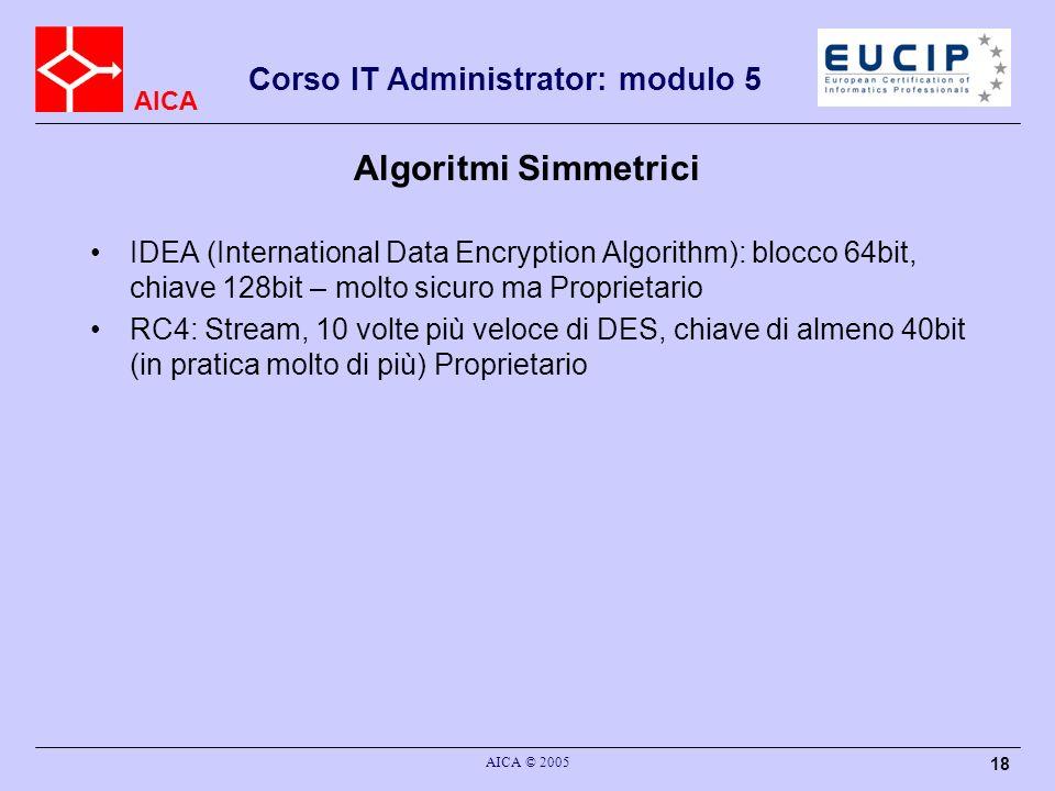 Algoritmi Simmetrici IDEA (International Data Encryption Algorithm): blocco 64bit, chiave 128bit – molto sicuro ma Proprietario.