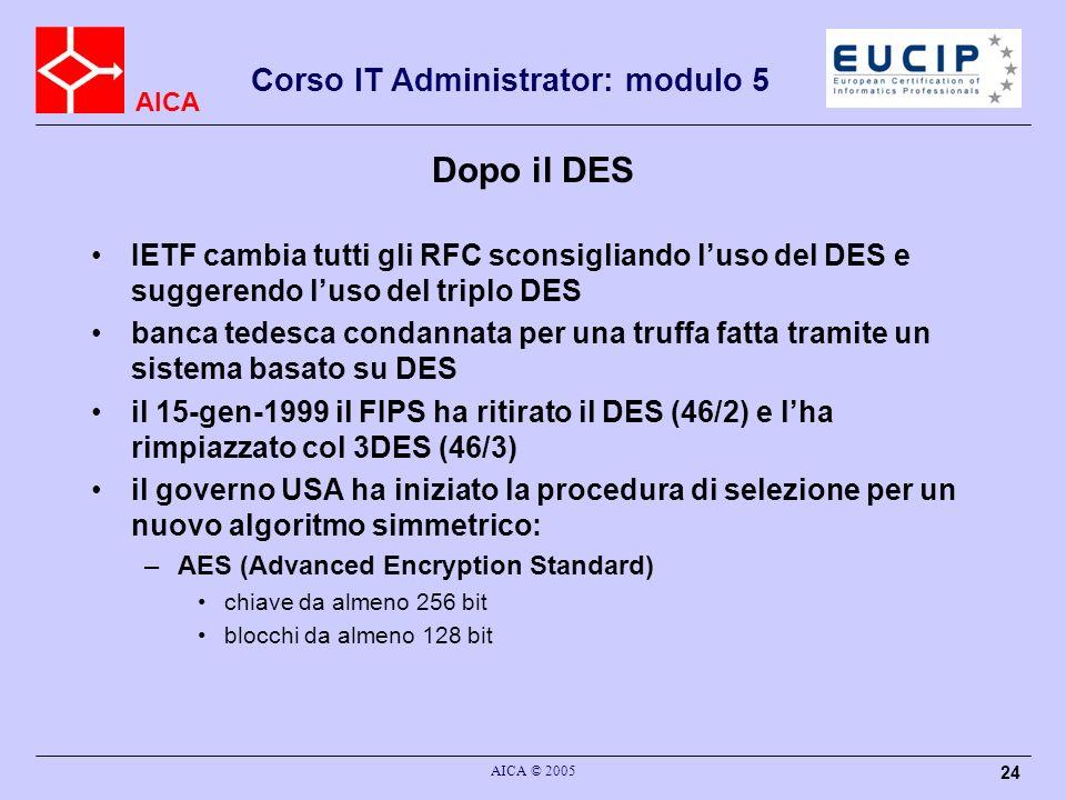 Dopo il DES IETF cambia tutti gli RFC sconsigliando l'uso del DES e suggerendo l'uso del triplo DES.