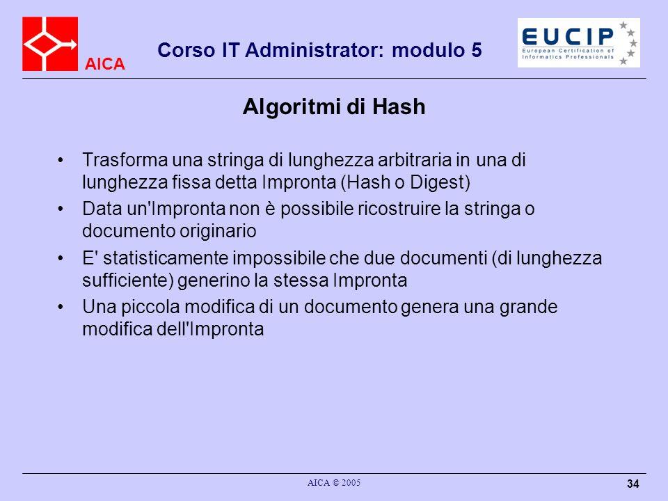 Algoritmi di Hash Trasforma una stringa di lunghezza arbitraria in una di lunghezza fissa detta Impronta (Hash o Digest)
