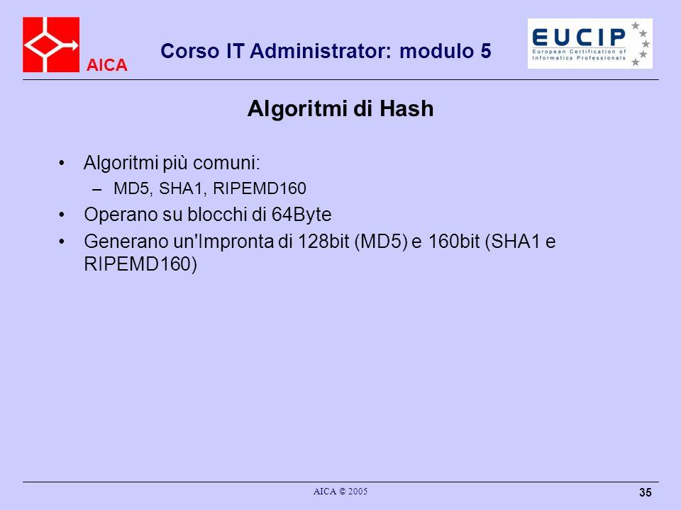 Algoritmi di Hash Algoritmi più comuni: Operano su blocchi di 64Byte