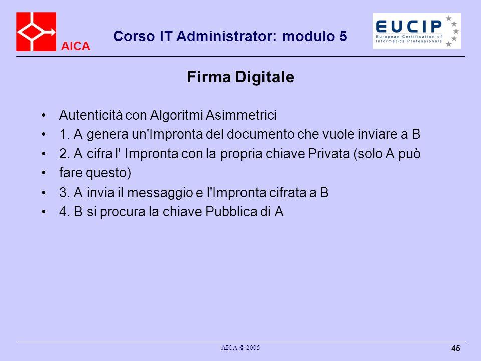 Firma Digitale Autenticità con Algoritmi Asimmetrici