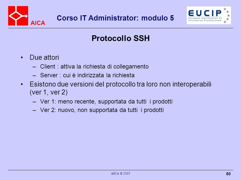 Protocollo SSH Due attori
