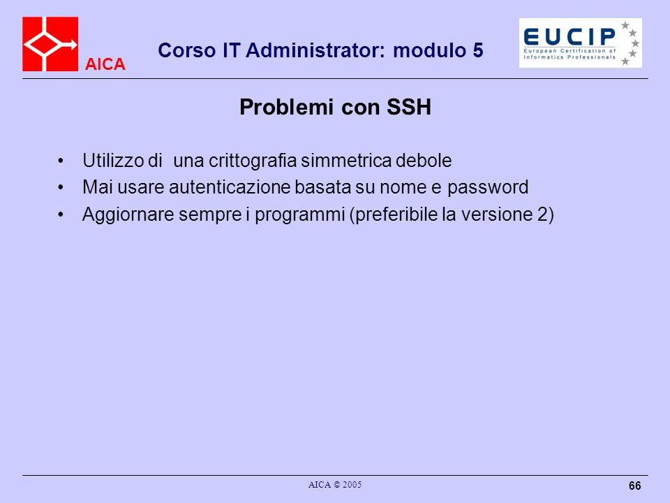 Problemi con SSH Utilizzo di una crittografia simmetrica debole