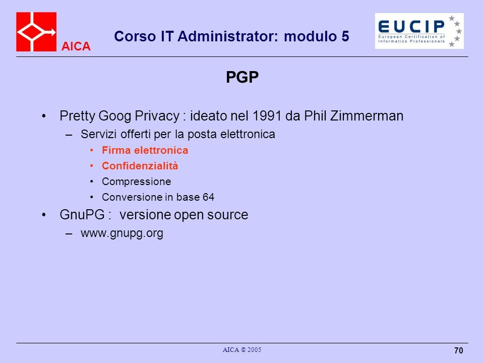 PGP Pretty Goog Privacy : ideato nel 1991 da Phil Zimmerman