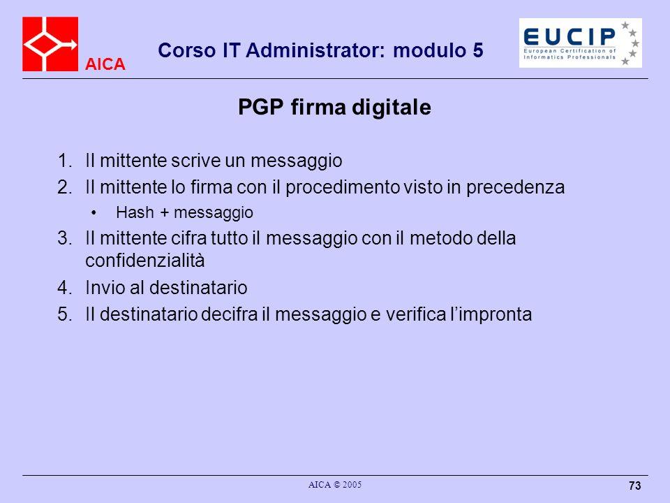 PGP firma digitale Il mittente scrive un messaggio
