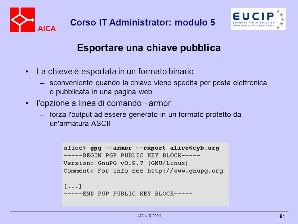 Esportare una chiave pubblica