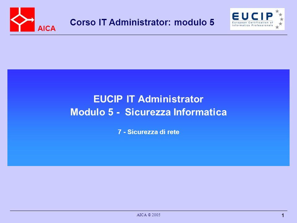 EUCIP IT Administrator Modulo 5 - Sicurezza Informatica 7 - Sicurezza di rete