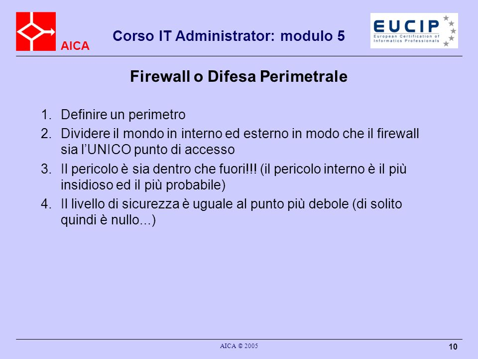 Firewall o Difesa Perimetrale
