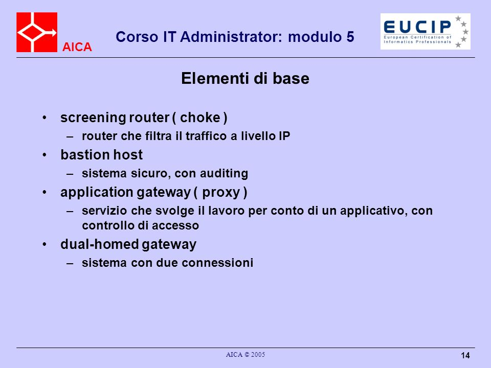Elementi di base screening router ( choke ) bastion host
